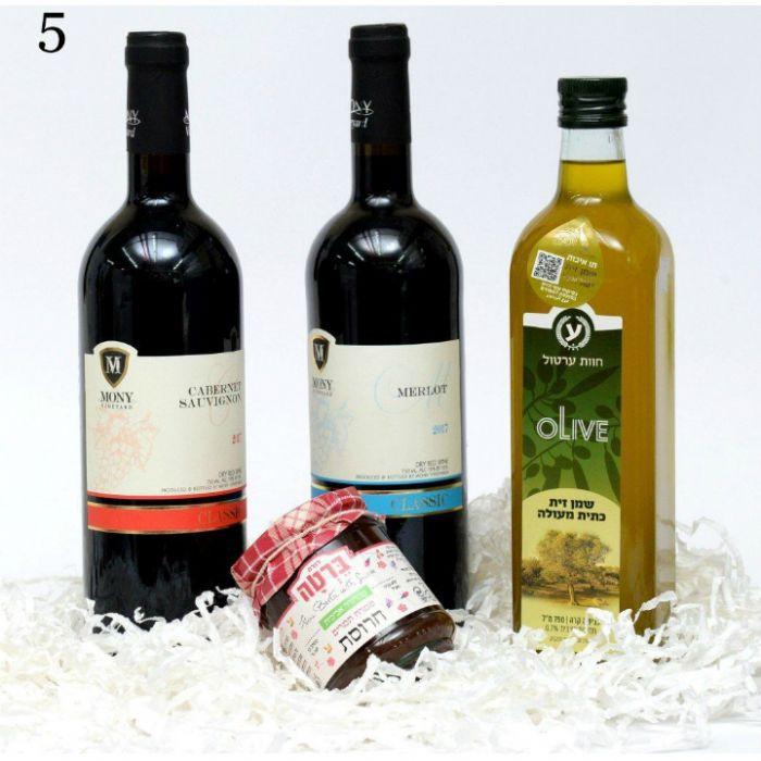 תמונה של 5 מארז יין, חרוסת ושמן זית
