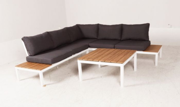 מע' ישיבה פינתית דגם קנקון צבע לבן