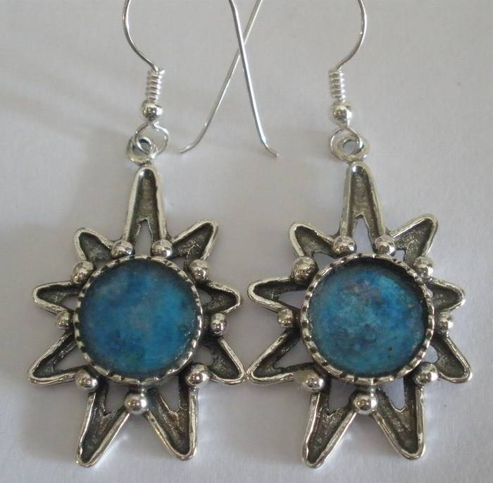 9 Point Star Sterling Silver, With Roman Glass Earings