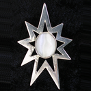 Silver 9 point star pendant with various semi-precious stones