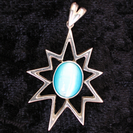 Large Silver 9 point star pendant with various semi-precious stones