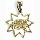 Gold 9 point star with The Greatest Name symbol