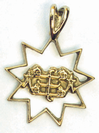 Gold 9 point star with RingStone symbol pendant