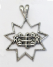 Silver 9 point star with RingStone symbol pendant.