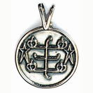 Round silver pendant with RingStone symbol