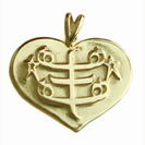 Heart-shaped pendant with symbol