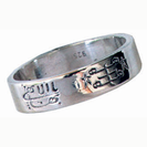 Silver ring, engraved with both symbols
