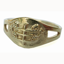 Small oval-shaped Silver ring with out-graved RingStone symbol