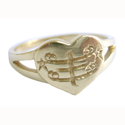 Silver heart-shaped ring with engraved RingStone symbol