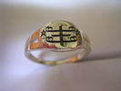 Small oval shaped Silver ring, with engraved  RingStone symbol