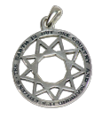 Silver 9 point star pendent with quotation
