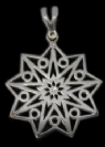 Decorative Silver 9 point star pendant