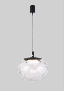 מנורת תליה כדור זכוכית מחורץ.