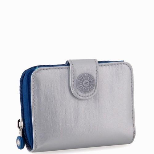 ארנקים לנשים ארנק קיפלינג ניו מאני כסף מבריק כחול