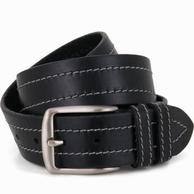 חגורת גבר לג'ינס שחור מתופר