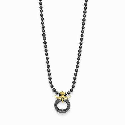 """שרשרת אופנה סאשה דיסקית 4.5 מ""""מ שחורה לוגו זהב"""