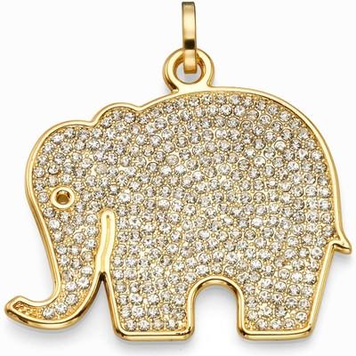 תליונים סאשה תליון פיל ענק זהב משובץ לבן