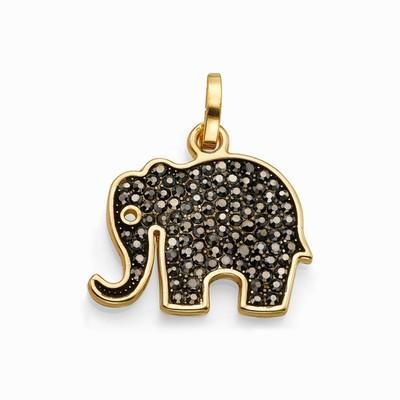 תליונים סאשה תליון פיל קטן זהב משובץ שחור