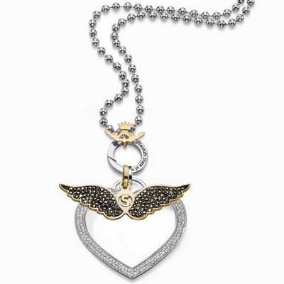 שרשרת סשה כסף תליון לב משובץ ותליון כנפיים זהב משובץ שחור