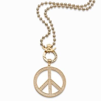 שרשרת סשה זהב ותליון סמל השלום משובץ