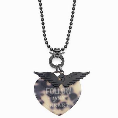 שרשרת סשה שחורה תליון לב אקריל ותליון כנפיים שחור