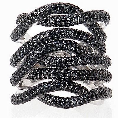 טבעת כסף 925 אבני סברובסקי שחורות