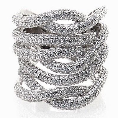 טבעת כסף 925 אבני סברובסקי לבן