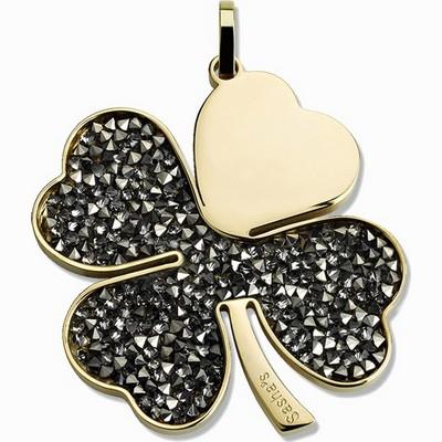 תליון סשה תלתן זהב קריסטלים שחורים