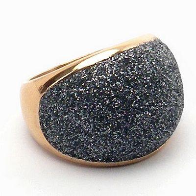 טבעת זהב עבה שבבי מינרל אפור