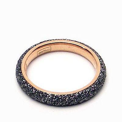 טבעת זהב רינג נירו שבבי מינרל אפור