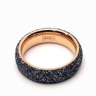 טבעת זהב רינג מדיום שבבי מינרל אפור