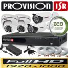 Dvr 4100 AHD Provision כולל 4 מצלמות אבטחה כיפה אינפרה 2MP ספק כח מרכזי, כבלים