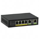 """סוויץ 4 ערוצים PoE 10/100/1000 המאפשר העבת מתח על כבל הרשת בנוסף 2 ערוצי Uplink במהירות 1000Mbps סה""""כ 60W"""