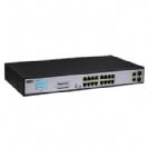 """סוויץ 16 ערוצים PoE 10/100/1000 המאפשר העבת מתח על כבל הרשת בנוסף 2 ערוצים SFP  סה""""כ 300W"""