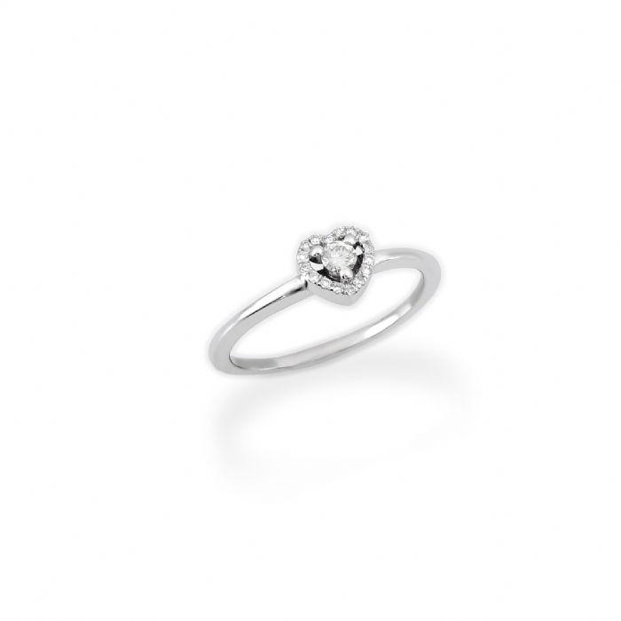 טבעת אירוסין לב משובץ