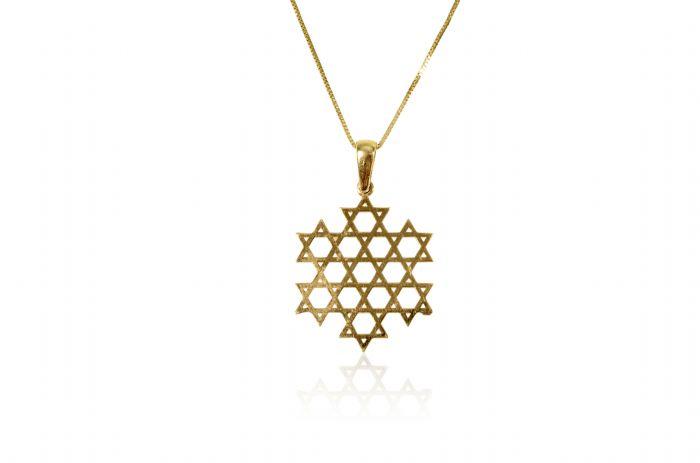 תליון מגן דוד מיוחד זהב צהוב 14 קרט