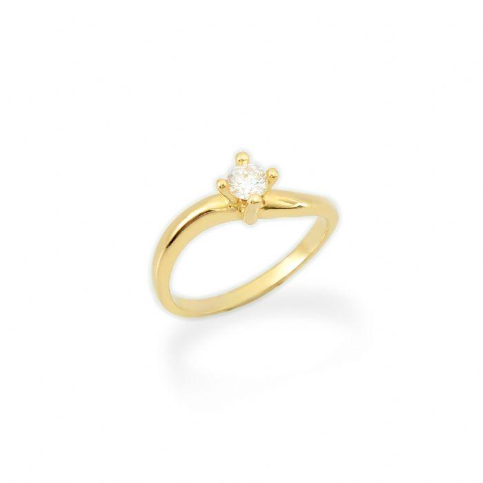 טבעת אירוסין זהב צהוב 14 קראט משובצת ביהלום 0.30 קראט.