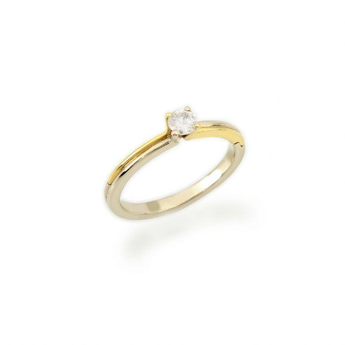 טבעת אירוסין קלאסית זהב 14 קרט בשיבוץ יהלום