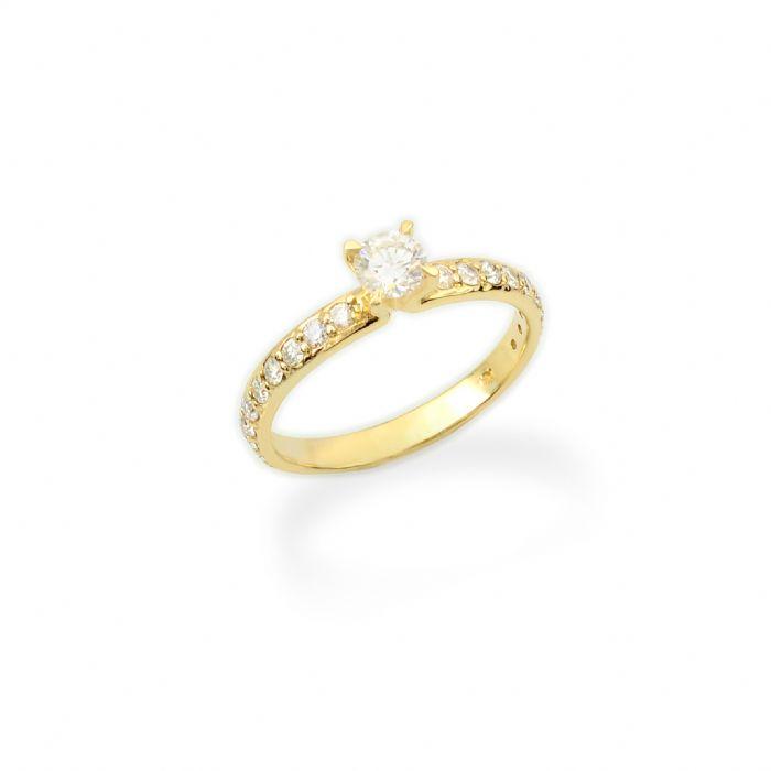 טבעת אירוסין קלאסית זהב 14 קרט בשיבוץ יהלומים