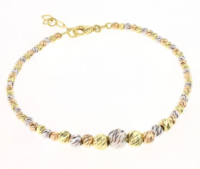 צמיד כדורים זהב צהוב בשילוב זהב אדום וזהב לבן 14 קראט