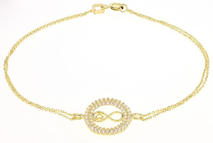 צמיד אינפיניטי עם לב משובץ זרקונים זהב צהוב 14 קראט