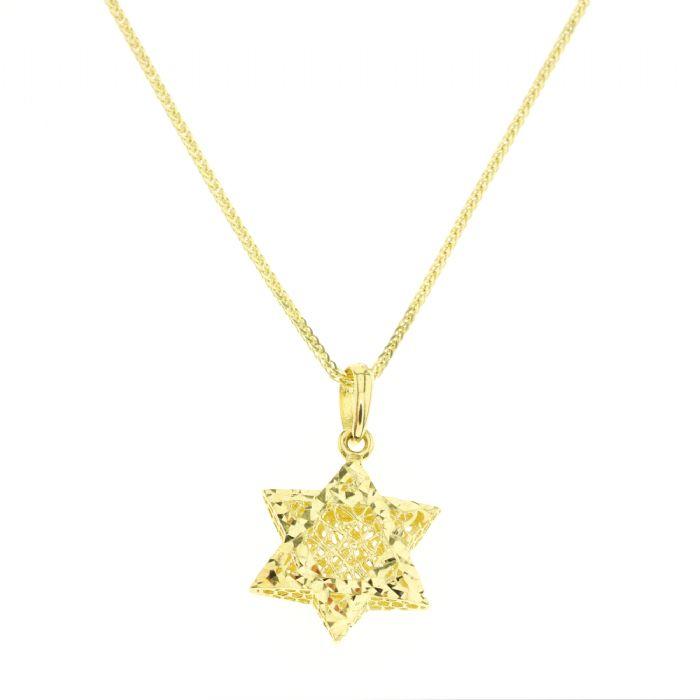 תליון זהב צהוב 14 קראט בצורת מגן דוד