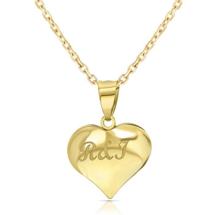 שרשרת ותליון לב זהב 14 קראט עם חריטה בעיצוב אישי