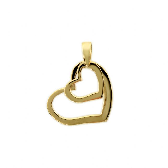 תליון לבבות זהב צהוב 14 קראט.
