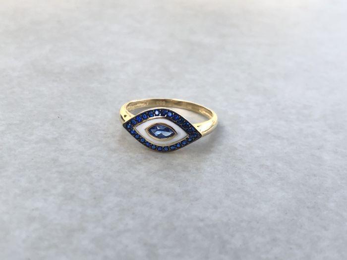 טבעת עין מיוחדת זהב 14K .