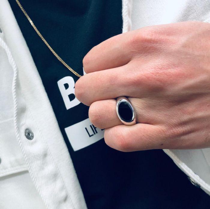 טבעת זהב לבן 14K לגבר