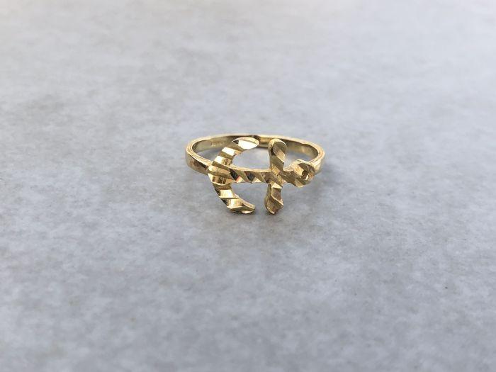 טבעת עוגן זהב 14K