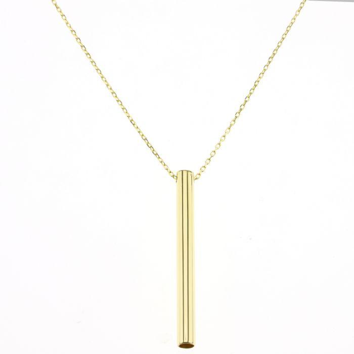 שרשרת זהב מיוחדת בשילוב גליל זהב עדין.