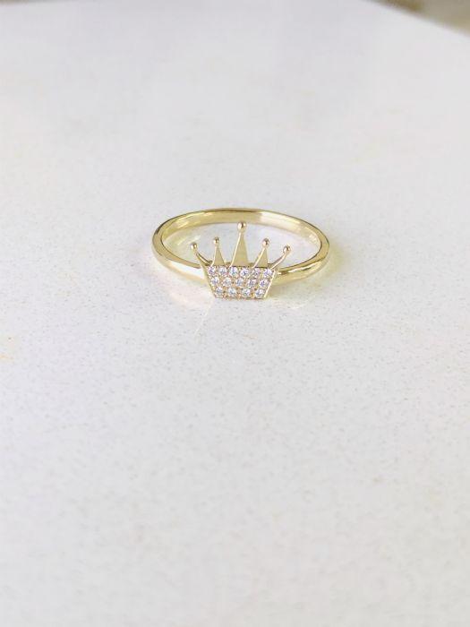 טבעת כתר זהב לבן משובצת יהלומים