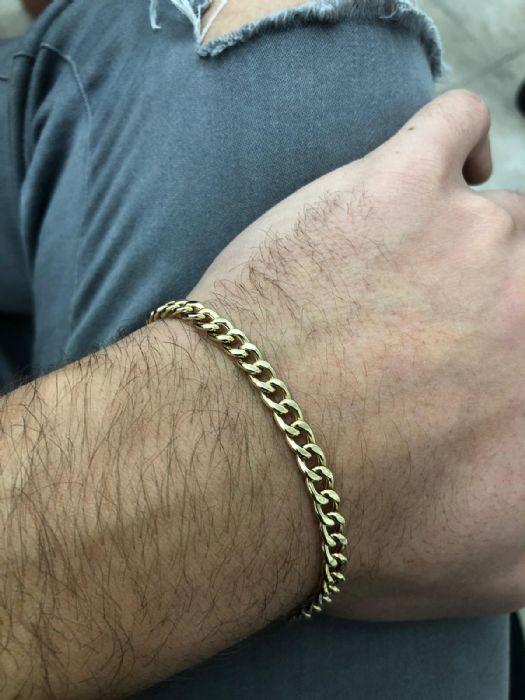 """צמיד לגבר חוליות """"פיגארו"""" זהב 14K"""